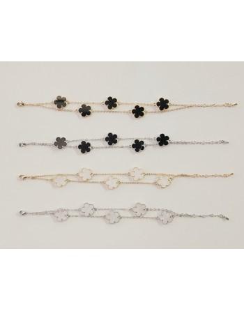 Bracelet 2 rows flowers 350083